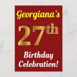 [ Thumbnail: Red, Faux Gold 27th Birthday Celebration + Name Invitation ]