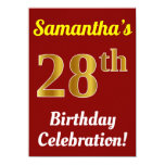 [ Thumbnail: Red, Faux Gold 28th Birthday Celebration + Name Invitation ]