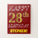 [ Thumbnail: Red, Faux Gold 28th Birthday + Custom Name Puzzle ]