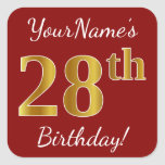 [ Thumbnail: Red, Faux Gold 28th Birthday + Custom Name Sticker ]
