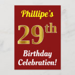 [ Thumbnail: Red, Faux Gold 29th Birthday Celebration + Name Invitation ]
