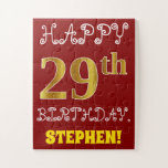 [ Thumbnail: Red, Faux Gold 29th Birthday + Custom Name Puzzle ]