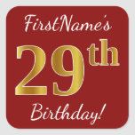 [ Thumbnail: Red, Faux Gold 29th Birthday + Custom Name Sticker ]