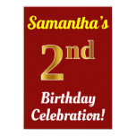 [ Thumbnail: Red, Faux Gold 2nd Birthday Celebration + Name Invitation ]