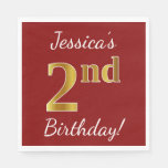 [ Thumbnail: Red, Faux Gold 2nd Birthday + Custom Name Napkin ]