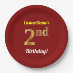 [ Thumbnail: Red, Faux Gold 2nd Birthday + Custom Name Paper Plate ]