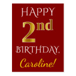 [ Thumbnail: Red, Faux Gold 2nd Birthday + Custom Name Postcard ]
