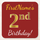 [ Thumbnail: Red, Faux Gold 2nd Birthday + Custom Name Paper Coaster ]