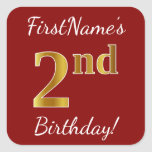 [ Thumbnail: Red, Faux Gold 2nd Birthday + Custom Name Sticker ]