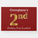 [ Thumbnail: Red, Faux Gold 2nd Birthday Party + Custom Name Guest Book ]