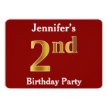 [ Thumbnail: Red, Faux Gold 2nd Birthday Party + Custom Name Invitation ]