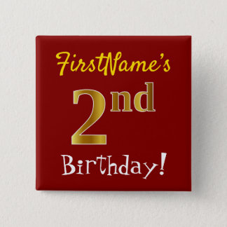 Red, Faux Gold 2nd Birthday, With Custom Name Button