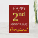 [ Thumbnail: Red, Faux Gold 2nd Wedding Anniversary + Name Card ]