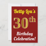 [ Thumbnail: Red, Faux Gold 30th Birthday Celebration + Name Invitation ]
