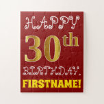 [ Thumbnail: Red, Faux Gold 30th Birthday + Custom Name Puzzle ]
