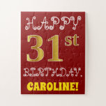 [ Thumbnail: Red, Faux Gold 31st Birthday + Custom Name Puzzle ]