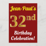 [ Thumbnail: Red, Faux Gold 32nd Birthday Celebration + Name Invitation ]