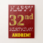 [ Thumbnail: Red, Faux Gold 32nd Birthday + Custom Name Puzzle ]