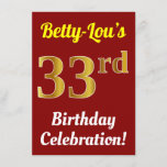[ Thumbnail: Red, Faux Gold 33rd Birthday Celebration + Name Invitation ]