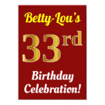 [ Thumbnail: Red, Faux Gold 33rd Birthday Celebration + Name Invitation ]