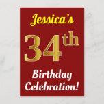 [ Thumbnail: Red, Faux Gold 34th Birthday Celebration + Name Invitation ]