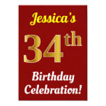 [ Thumbnail: Red, Faux Gold 34th Birthday Celebration + Name Invitation ]
