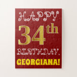 [ Thumbnail: Red, Faux Gold 34th Birthday + Custom Name Puzzle ]