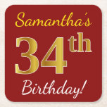 [ Thumbnail: Red, Faux Gold 34th Birthday + Custom Name Paper Coaster ]