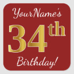 [ Thumbnail: Red, Faux Gold 34th Birthday + Custom Name Sticker ]