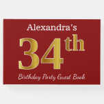 [ Thumbnail: Red, Faux Gold 34th Birthday Party + Custom Name Guest Book ]