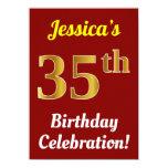 [ Thumbnail: Red, Faux Gold 35th Birthday Celebration + Name Invitation ]