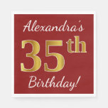 [ Thumbnail: Red, Faux Gold 35th Birthday + Custom Name Napkin ]