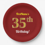 [ Thumbnail: Red, Faux Gold 35th Birthday + Custom Name Paper Plate ]