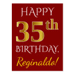 [ Thumbnail: Red, Faux Gold 35th Birthday + Custom Name Postcard ]