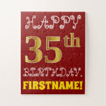 [ Thumbnail: Red, Faux Gold 35th Birthday + Custom Name Puzzle ]