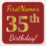 [ Thumbnail: Red, Faux Gold 35th Birthday + Custom Name Paper Coaster ]
