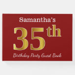 [ Thumbnail: Red, Faux Gold 35th Birthday Party + Custom Name Guest Book ]