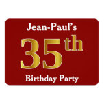 [ Thumbnail: Red, Faux Gold 35th Birthday Party + Custom Name Invitation ]
