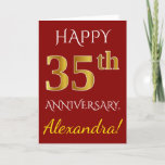 [ Thumbnail: Red, Faux Gold 35th Wedding Anniversary + Name Card ]