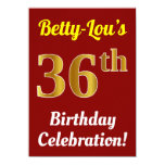 [ Thumbnail: Red, Faux Gold 36th Birthday Celebration + Name Invitation ]