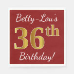 [ Thumbnail: Red, Faux Gold 36th Birthday + Custom Name Napkin ]