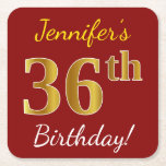 [ Thumbnail: Red, Faux Gold 36th Birthday + Custom Name Paper Coaster ]