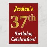 [ Thumbnail: Red, Faux Gold 37th Birthday Celebration + Name Invitation ]