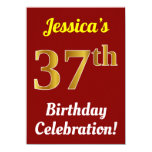 [ Thumbnail: Red, Faux Gold 37th Birthday Celebration + Name Invitation ]