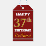 [ Thumbnail: Red, Faux Gold 37th Birthday + Custom Name Gift Tags ]