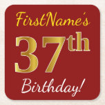 [ Thumbnail: Red, Faux Gold 37th Birthday + Custom Name Paper Coaster ]