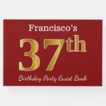 [ Thumbnail: Red, Faux Gold 37th Birthday Party + Custom Name Guest Book ]