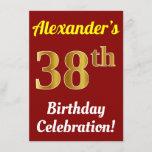 [ Thumbnail: Red, Faux Gold 38th Birthday Celebration + Name Invitation ]