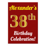 [ Thumbnail: Red, Faux Gold 38th Birthday Celebration + Name Invitation ]