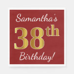 [ Thumbnail: Red, Faux Gold 38th Birthday + Custom Name Napkin ]